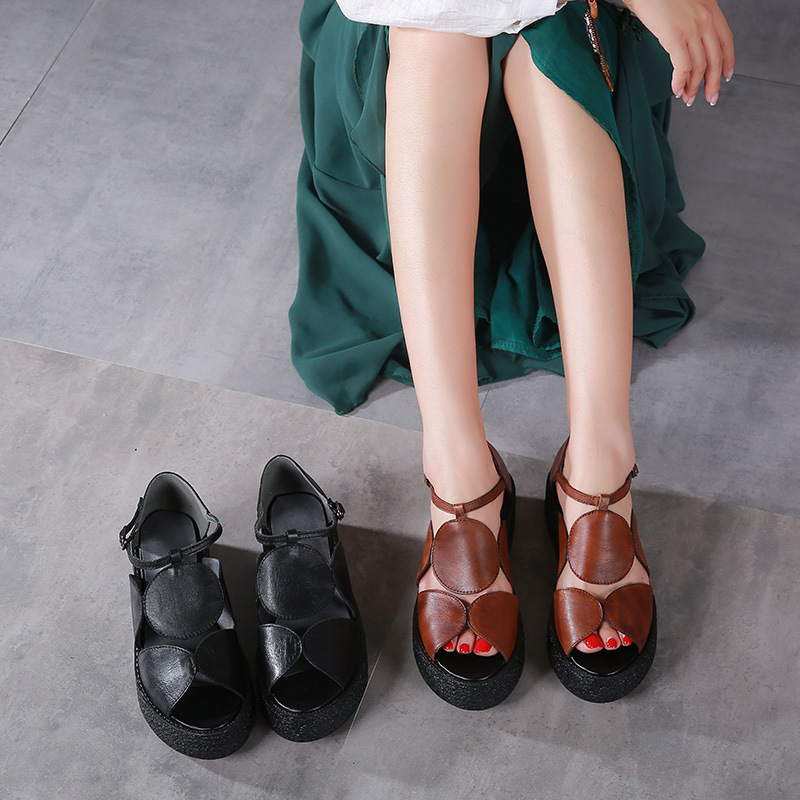 2018 Summer Thick Sole Rome Woman Sandals Peep Toe Platform Sandals Flat Heel Leather Female Casual Shoes Actmdall fashion thick sole platform real cow leather upper pigskin liner women 2017 summer flat heel sandals lady opentoe flats shoes