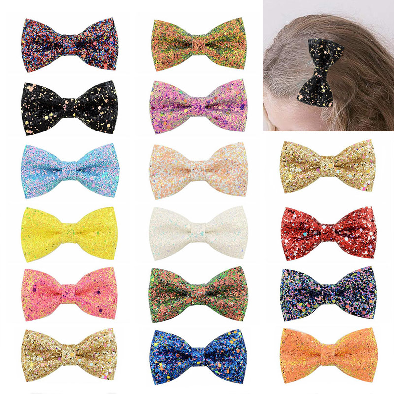 Dots Barrettes Hairpins 36 Colors 1PC Children Hair Clips Bowknot Hairbows Glitter Bows With Clip Girls 2019 New Arrival Kids