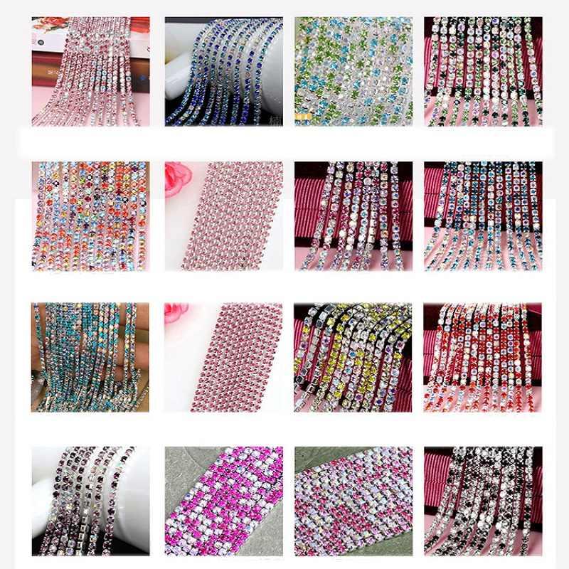1 メートル縫製クリスタルラインストーンチェーンシルバーベース爪 2/2。 5/2。 8/3 ミリメートル/縫うトリム DIY 服アクセサリー