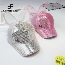 Verano Sequins niños gorras de béisbol lindo conejos orejas malla  transpirable brillo ajustable gorra de béisbol e14d8ff17a9
