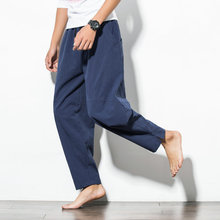 Spring Men Sweatpants Linen Harem Wide Leg Hippe Loose Yoga Pant Bloomers Baggy Running Jogger Casual Fitness Sportswear