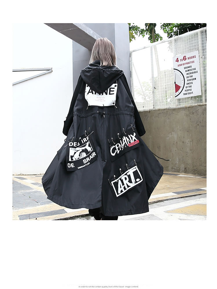 XITAO Spliced Plus Size Black Trench For Women Tide Long Print Streetwear Hoodie Casual Female Wide Waisted Coat 19 ZLL1100 12