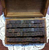 Wholesale 70pcs Set Number And Letter Wood Stamp Set Wooden Box Multi Purpose Stamp DIY Funny