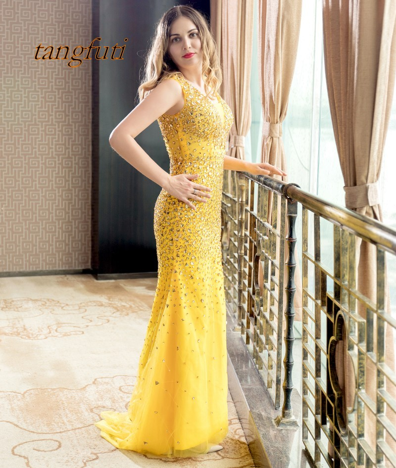 Mermaid Yellow Evening Dresses Long 2018 With Crystals Beaded Formal Evening Dress Women Prom Party Vestido De Festa Longo