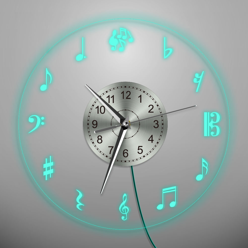 1Piece Music Notes Wall Clock Musical Theme LED Light