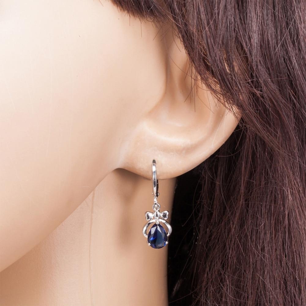 1 Pair Fashion Women Earring Water Drop-shaped Bow Tie Zircon Earrings Hollow Wedding Drop Earrings For Women