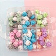 hot deal buy 90pcs/set baby nursing teething crochet beads set 16mm chewable beads diy jewelry nursing accessories toy baby teether best gift