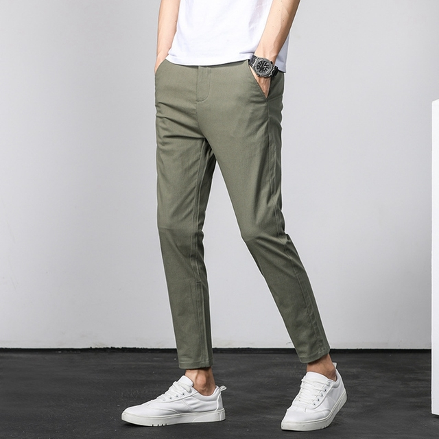 Men ANKLE Length Trousers 98.2% cotton 1.8% spandex Summer Thin Zipper Green Grey Black Slim Male Young Man Pencil Ninth Pants 3