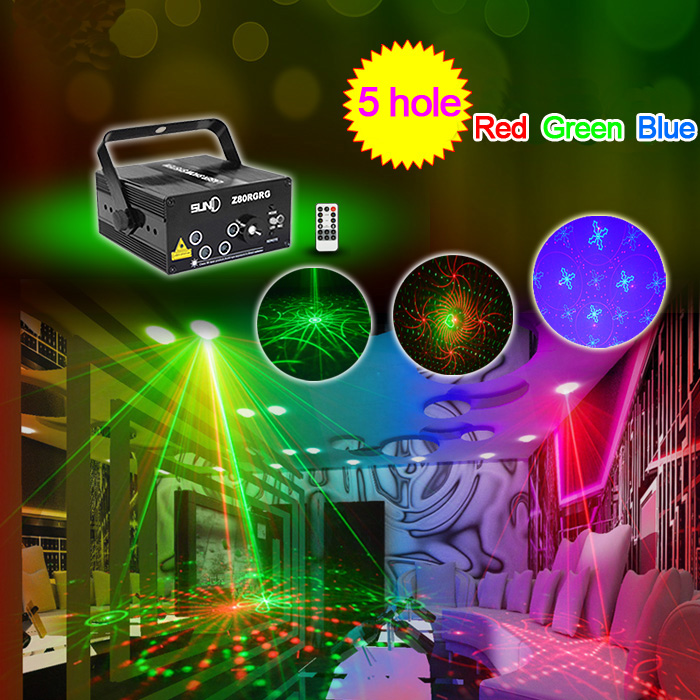LED Laser Stage Lighting 5 Lens 80 Patterns RG Mini Led Laser Projector Blue Light Effect Show For DJ Disco Party Lights niugul dmx stage light mini 10w led spot moving head light led patterns lamp dj disco lighting 10w led gobo lights chandelier