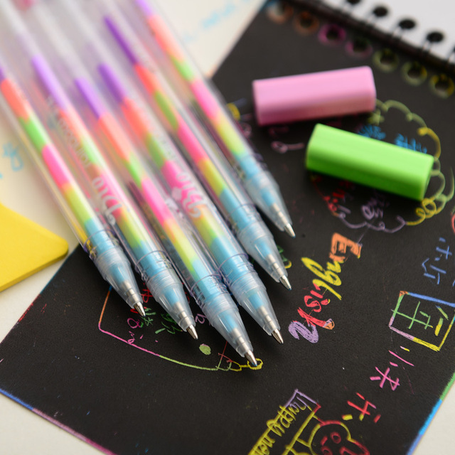 Kawaii Rainbow Multicolor Gel Pens (6pcs)