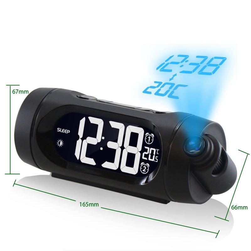 Alarme de Projection Horloge Numérique Snooze Fonction Led horloge de bureau affichage température siège chambre de chevet horloge