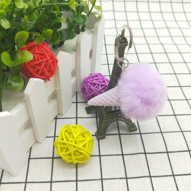 Cute Summer Ice Cream Keychain Faux Fur Pom Pom Key Chains for Women Car  Bag Pendant d00b4f8160968