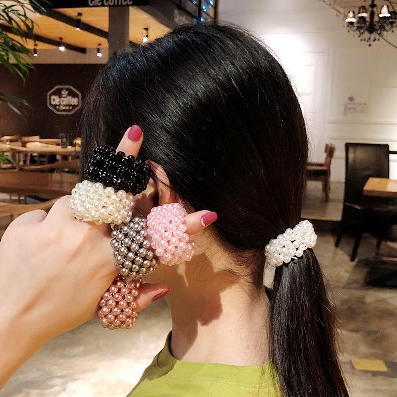 2019 New Women Girls Cute Full Pearls Elastic Hair Bands Ponytail Holder Elegant Rubber Bands Scrunchie Fashion Hair Accessories