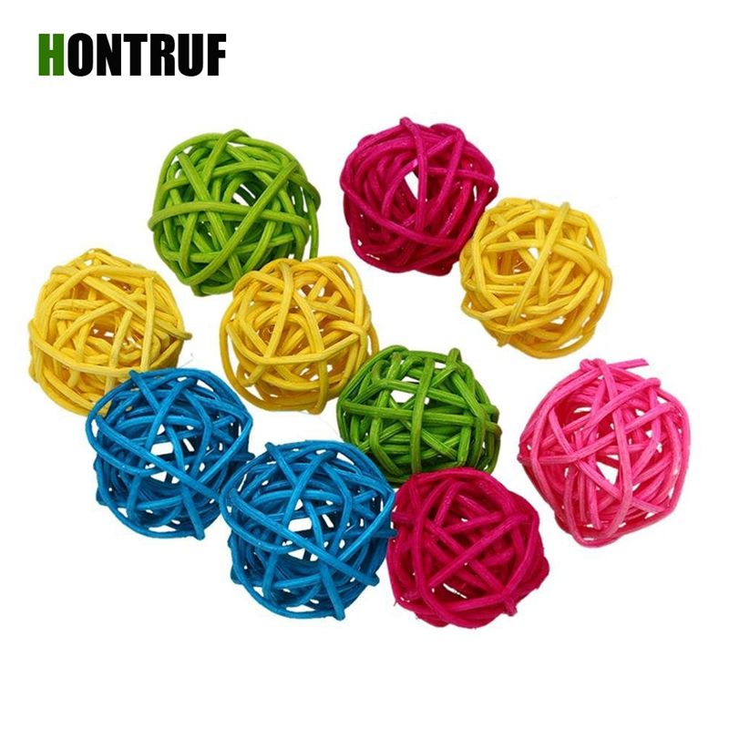 10Pieces Colorful Rattan Grass Hand-woven Pet Toy Hamster Rabbit Natural Toy Rattan Ball Bird Chewing Grind Toys Birdcage Decor