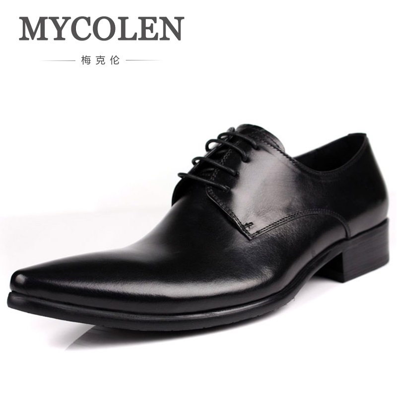 MYCOLEN Calf Genuine Leather Mens Dress Shoes Black Brown Formal Business Pointed Toe Handsome Men Wedding Shoes Sapatos Social top quality crocodile grain black oxfords mens dress shoes genuine leather business shoes mens formal wedding shoes