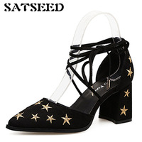 Autumn Pumps Shoes 2018 Embroidered Stars Womens Pointed Toe Dress Shoes Sexy Pumps Ladies Pumps Black