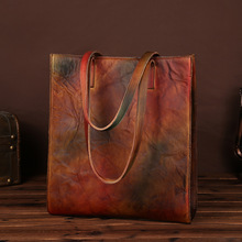 New Vintage Genuine Leather Women Handbags High Capacity Handmade Brush Color Cowhide Leather Shopping Bags For Bags LS8817