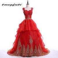 Długie 2016 Gothic Red Ball Suknia Księżniczki Suknie Ślubne Koronki Złota Luksusowe Kryształ Off Shoulder Suknie Ślubne Suknia Dla Nowożeńców