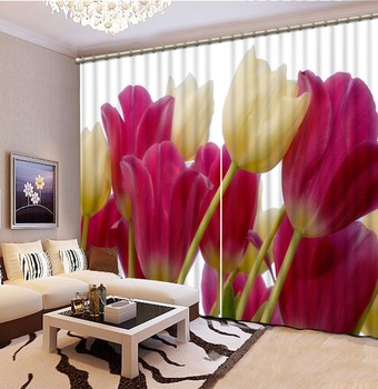 3D Curtain Printing Blockout Polyester 3d Curtains Blackout for Living Room Kids Bedroom Fabric rose curtains