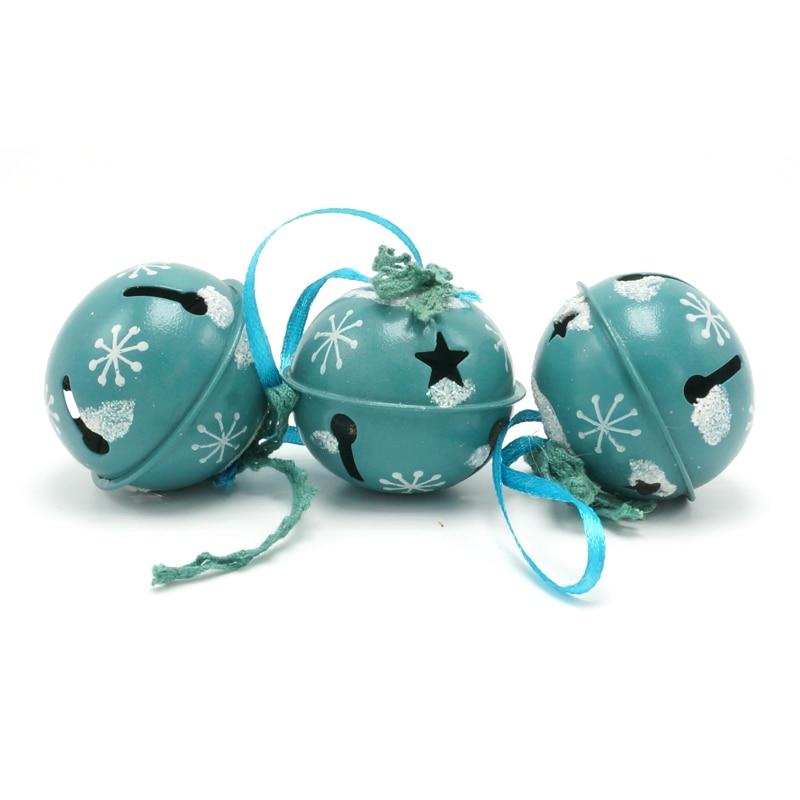 Decoración navideña 6 pcs metal azul brillante Jingle Bells 50 mm - Para fiestas y celebraciones - foto 2