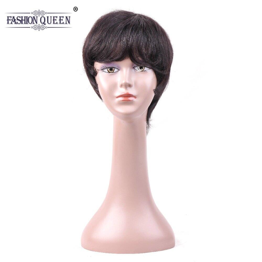 Модные queen прямая парик человеческих волос для Для женщин натуральный Цвет короткие парики человеческих волос с для волос взрыва