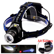 New AA Battery Headlight Rechargeable frontal Headlamp led Lampe XML-T6 Torch Head Lamp Outdoor Camping Fishing Hunting Light