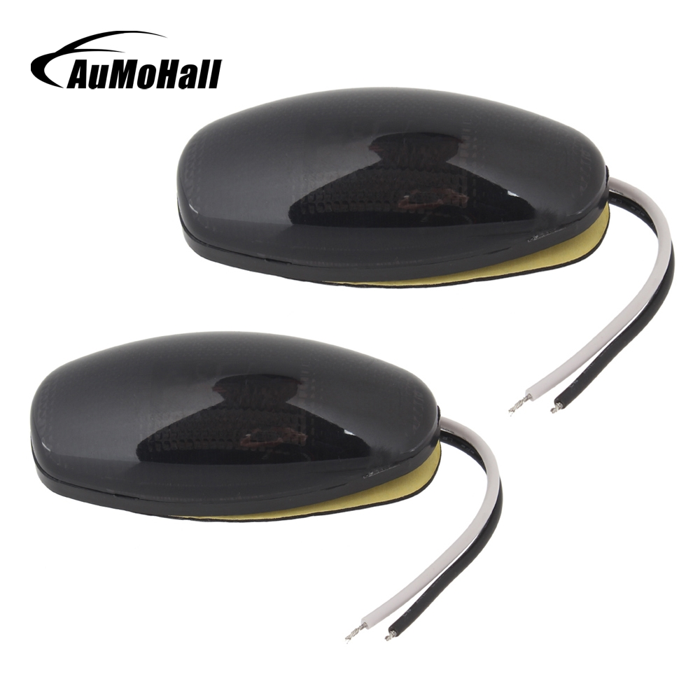 AuMoHall 1 pair LED Car Side Marker Light 12V Clearance Lights for Truck Trailer Red Yellow Plastic
