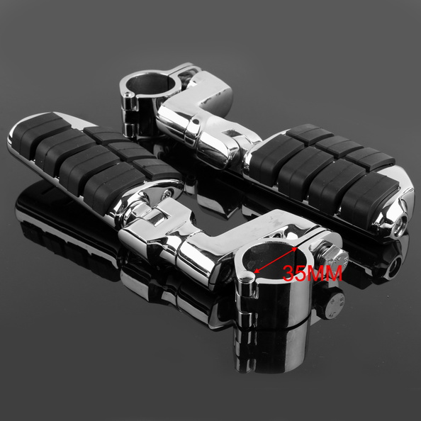 Universal Chrome Front Left&Right Foot Rest Foot Pegs For Honda Motorcycle 35mm