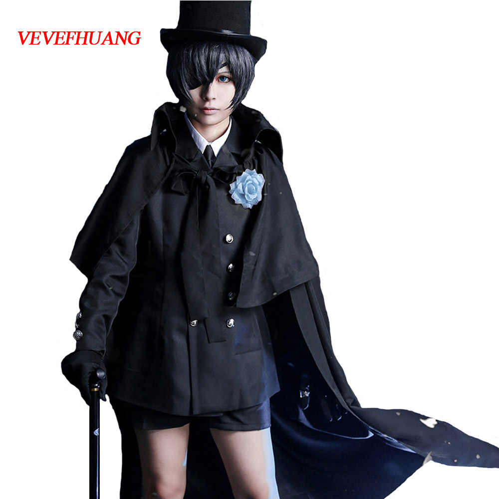 VEVEFHUANG Ciel Phantomhive Cos Halloween Party Japanse Anime Smoking Jurk Man Vrouw Black Butler Kuroshitsuji Cosplay Kostuum