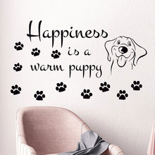 Happiness Is Warm Puppy Quotes Wall Sticker Vinyl Grooming Salon Decor Interior Design Dog Footprint Decals Pet Shop Murals A251