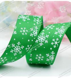 2019 new 2 yards 25MM Green Red Printing SnowFlake Ribbons Merry Christmas Decoration Happy New Year