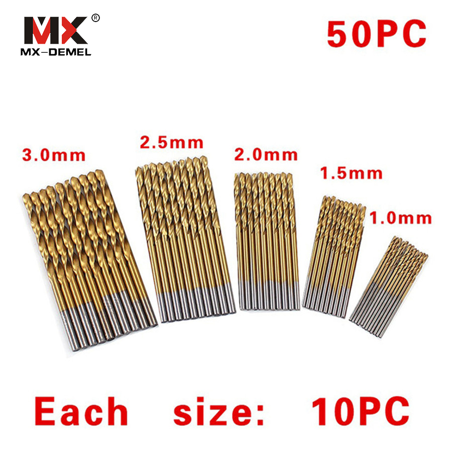MX-DEMEL 50Pcs Twist Drill Bits HSS 1/1.5/2/2.5/3 mm Saw Set High Speed Steel Coated Drill Woodworking Wood Tools Accessories 50pcs set twist drill bit set saw set 1 1 5 2 2 5 3mm hss high steel titanium coated woodworking wood tool drilling for metal