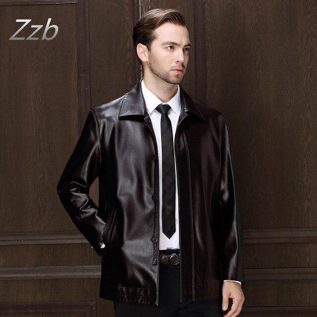 Lederjacke Men Leather Jacket Soft  Leather Jacket Male Business casual Coats Chaqueta de cuero veste en cuir giacca di pelle