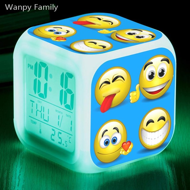 emoji lächeln wecker, leuchtende led farbwechsel digitale wecker, Design ideen