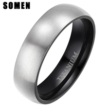 Somen 2019 New Fashion Mens Black Titanium Ring Matte Finished Classic Engagement Anel Jewelry For Male Wedding Bands