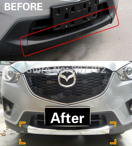 ФОТО Chrome Front Bumper Trim Protection Exterior 1PC For 2012-2013 Mazda CX-5 CX5