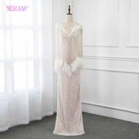 Мода 2019 г. телесного цвета длинные Бисер Перья карнавальное вечернее платье платья для женщин YQLNNE