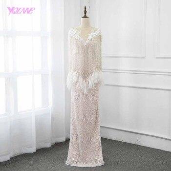 55721edf57d55f1 Мода 2019 г. телесного цвета длинные Бисер Перья карнавальное вечернее платье  платья для женщин YQLNNE