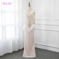 2019 Fashion Nude Long Beading Feathers Evening Dress Pageant Dresses YQLNNE