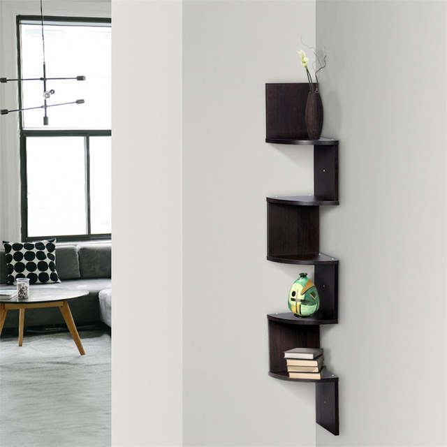 6e9fe1a6c4a placeholder Finether 5-tier Zig Zag Floating Wall Corner Shelf Unit Wall  Mounted Shelving Bookcase Storage