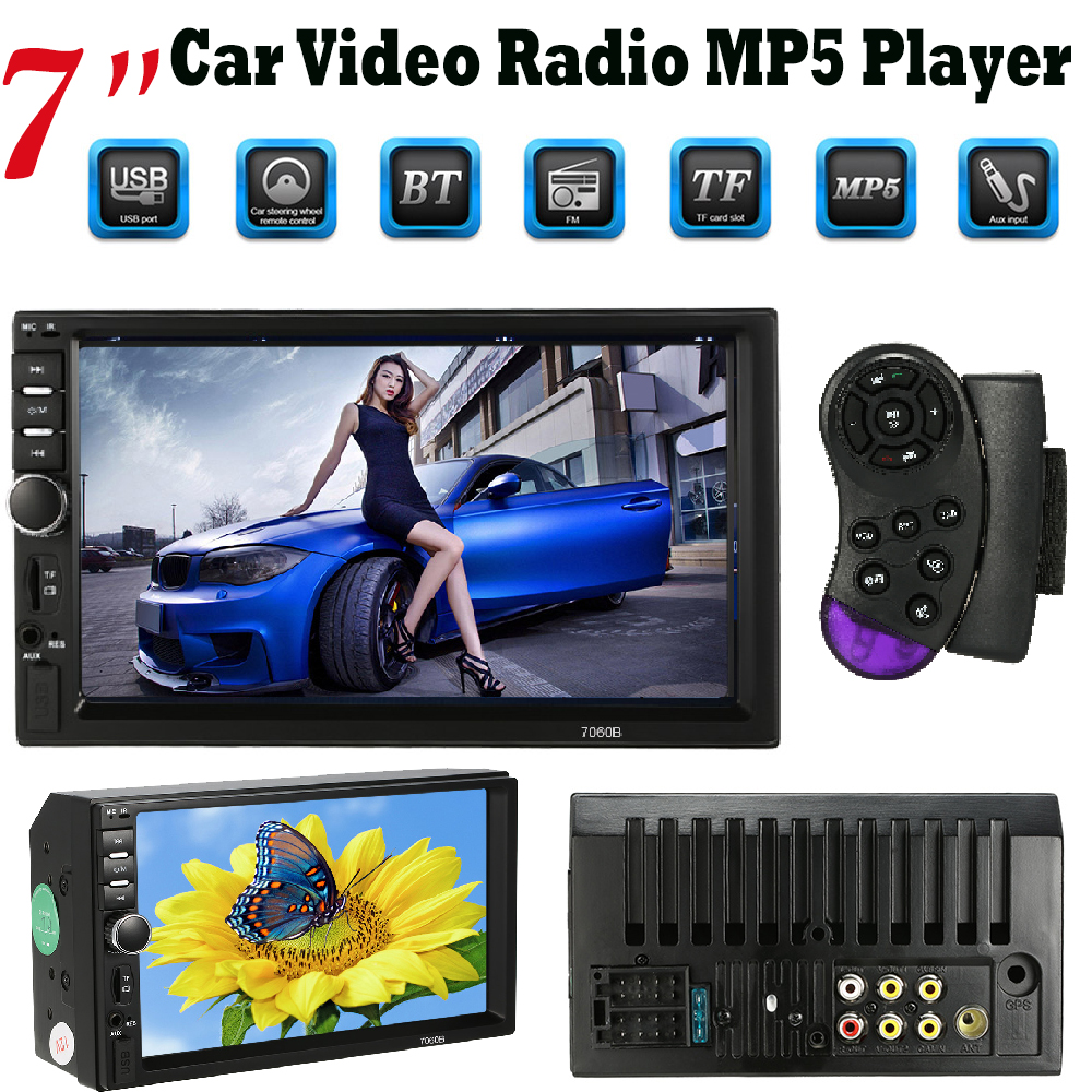 7 Car Video MP5 Player Automagnitola 2-din Car Radio Multimedia FM/USB/AUX/Bluetooth Can Charge for Mobilephone USB Devices universal hd 7 touch screen automagnitola 1 din mp5 fm aux player bluetooth stereo radio usb tf auto electronics 7080b