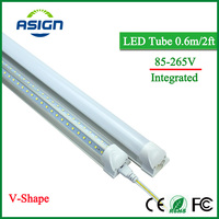 V Shape LED Bulbs Tubes T8 600mm 20W 2 Feet Led Integrated Tube Light 2FT AC85