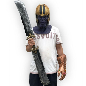 1:1 Thanos Double-edged Sword 110cm Cosplay Weapons Movie Role Playing Figure Model Thor Thunder Hammer Figure Model PU Toy