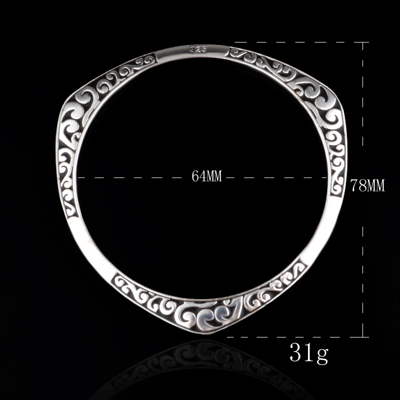 925 Tibet silver viking bracelets & bangles Round Triangle flower - Fashion Jewelry - Photo 6