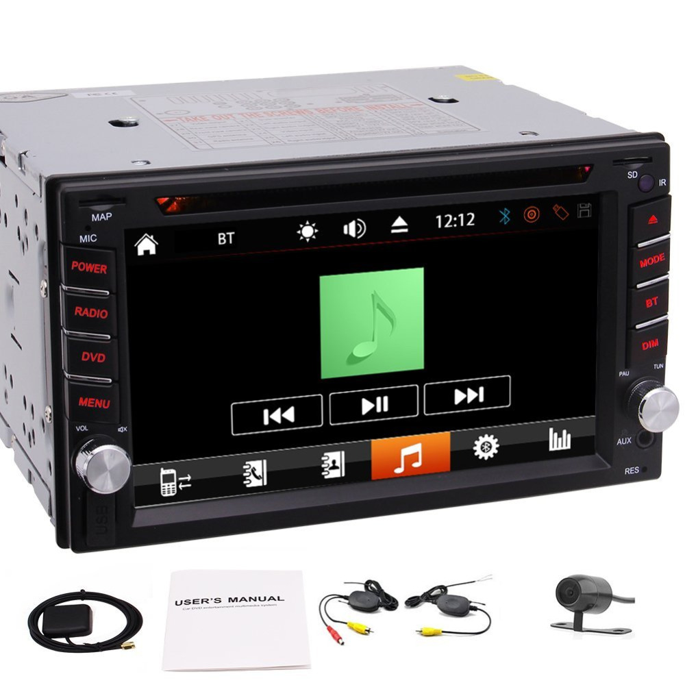 Car Double Din in Dash GPS 2DIN Car DVD CD MP3 Player Bluetooth USB SD FM/AM RDS Radio Receiver Autoradio Car Deck Stereo+Camera clear stock 6 95 hd 2din capacitive touch screen car dvd player stereo radio audio bluetooth usb sd fm am cd dvd mp3 mp4