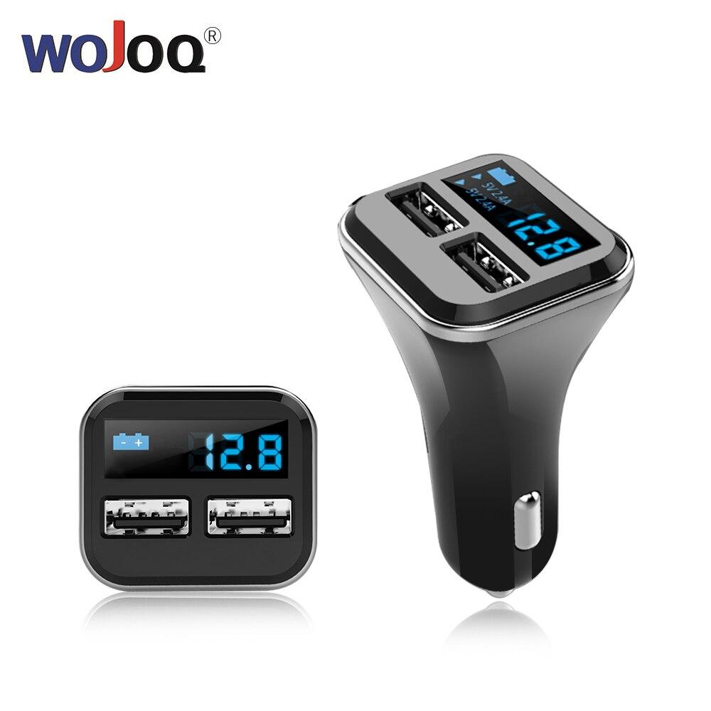 WOJOQ Dual USB Carregador de Carro Com Display LED Inteligente Telefone Móvel 4.8A Carro-Adaptador de carregador de Carregador de Telefone para A Maçã para Android etc