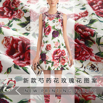 2018 new brand peony flower rose pattern leaf jacquard fabric digital printing cloth fabric for dress factory direct sales
