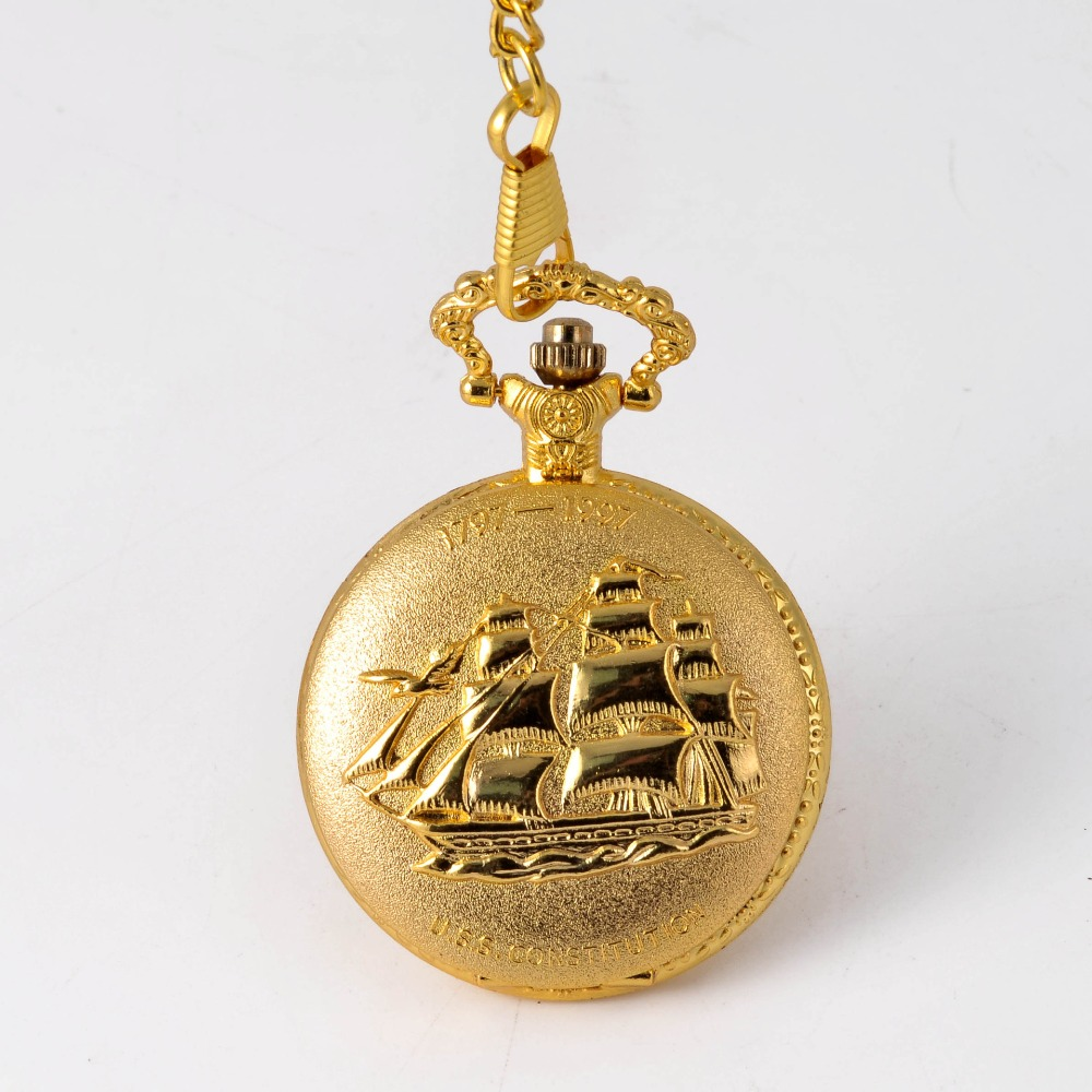 0   Golden Men's And Women's Pocket Watch Full Double Boat Quartz  Fashion  Lettering Gold Hand Wind Pocket Watch