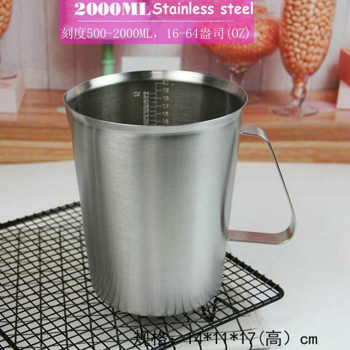1pcs 500ml 1000ml 1500ml 2000ml Stainless Steel Lab Beaker Measuring Cups Graduated Liquid Metal Lab Tools With Inner Scale cartoon graduated scale measuring spoon