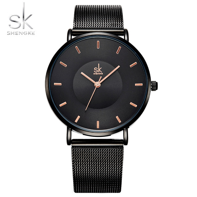 Shengke Fashion Black Women Watches 2018 High Quality Ultra thin Quartz Watch Wo